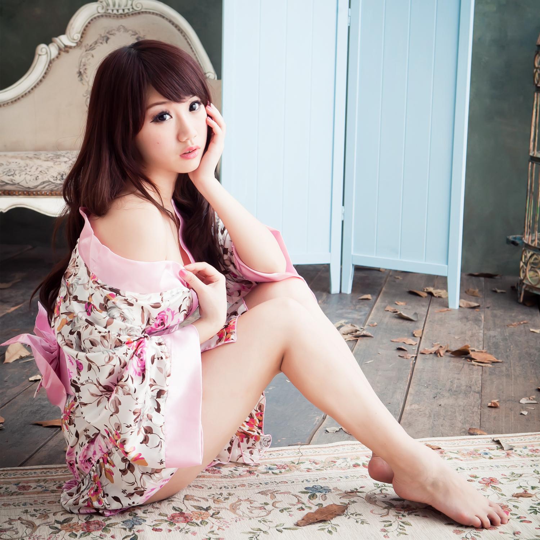角色扮演萌系性感日系和服~cosplay粉色柔緞不透明和服小性感睡衣~...