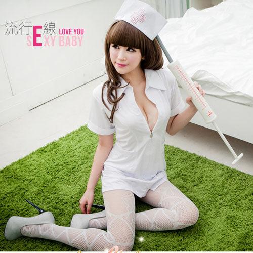 粉白護士服經典角色扮演服裝角色扮演服短袖洋裝護士服 A409...
