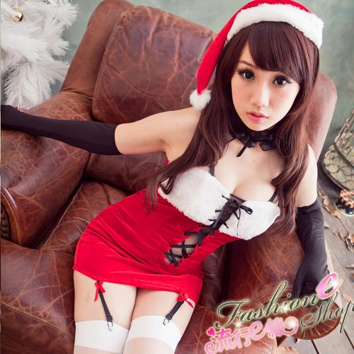 聖誕裝綁帶深V聖誕服聖誕帽~F039...
