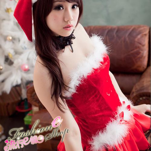露肩澎澎洋裝聖誕服含聖誕帽~F019