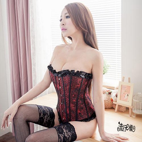 性感馬甲~歐式宮廷華麗束腰馬甲性感丁字褲~H060...
