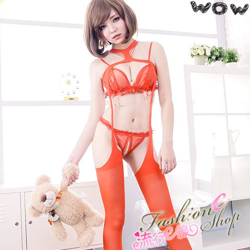 SM連身貓裝,裸空性感一體成型連身衣情趣吊帶襪*B378