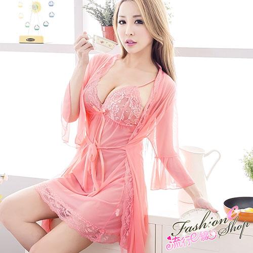 性感睡衣 3件式薄紗和服式連身性感睡衣*流行E線A7034...
