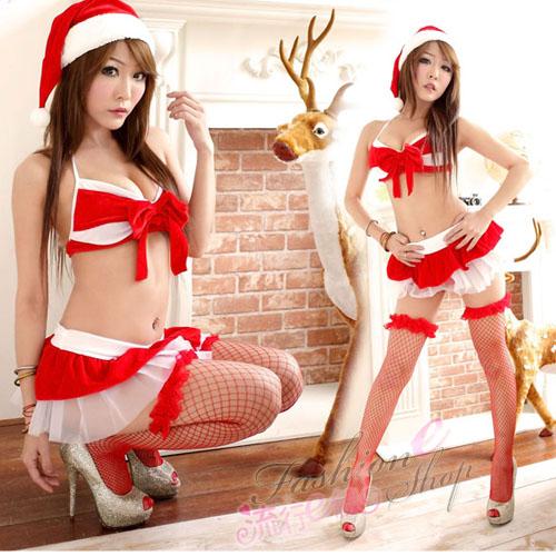 紅色比基2件式聖誕服 迷你裙角色扮演聖誕裝-F025...