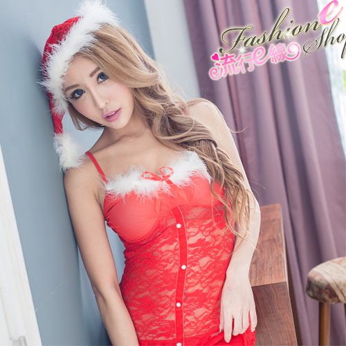 聖誕禮物紅色蕾絲聖誕服半透紅色聖誕裝F063...