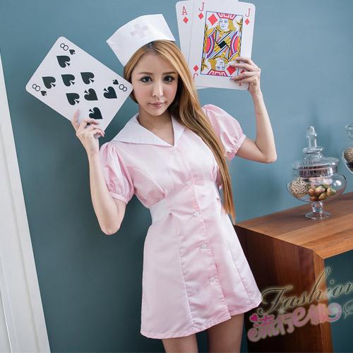 護士服 短袖洋裝護士服cosplay服裝粉藍護士服~流行E線A7078...