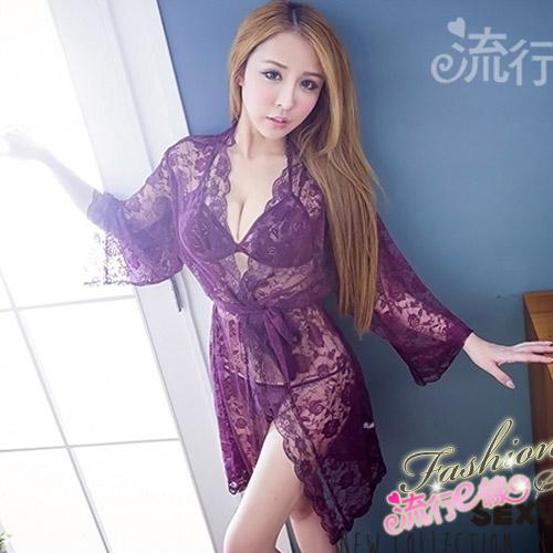 M/XL性感睡袍 3件式蕾絲連身性感睡衣~情人節禮物*流行E線A7065...