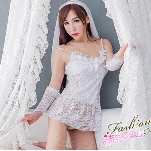 甜美新娘白色睡衣組~細肩帶性感睡衣含頭紗手套~A7107...