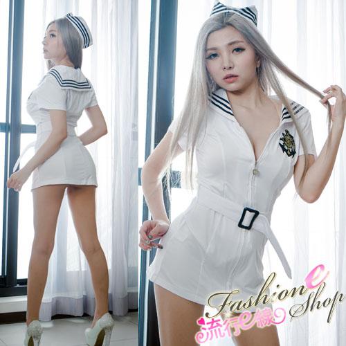 萌系軍裝水手服cosplay服裝白色水手服~A7134...