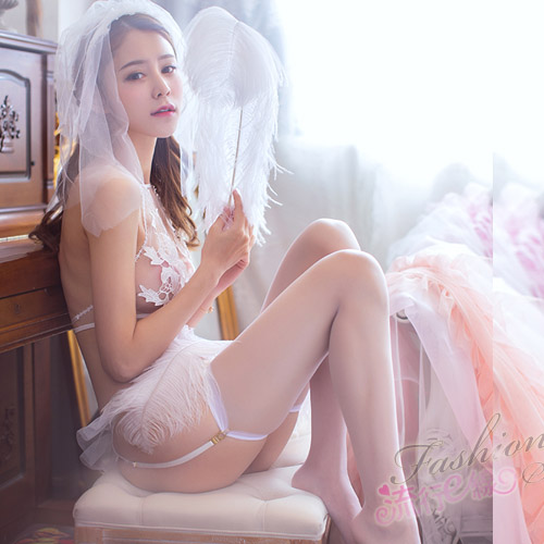 新娘性感內衣組5件組含頭紗白色絲襪 A7166