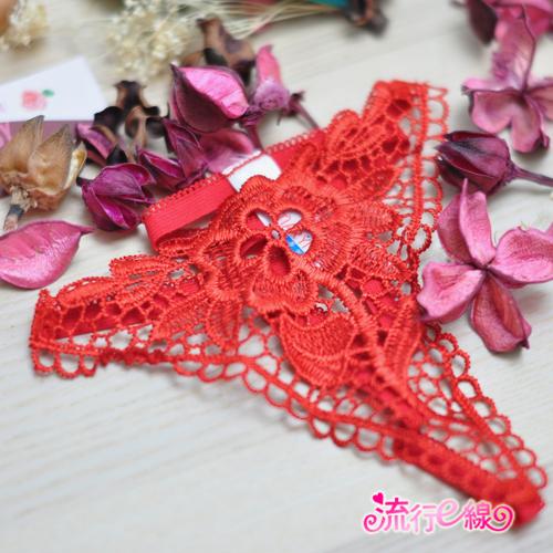 【B520】紅色花園 刺繡透視情趣丁字褲~生日驚喜禮物低腰內褲...