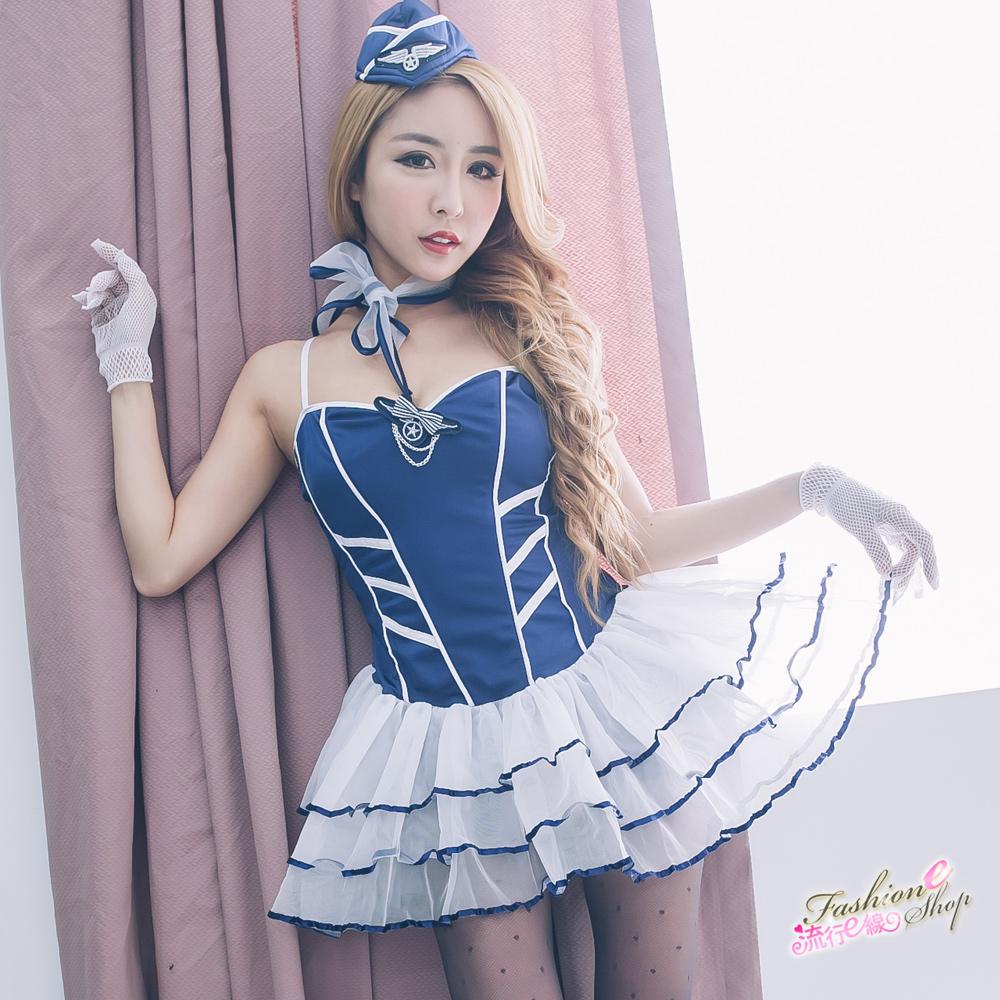 甜心空姐cosplay服裝藍白澎澎裙襬空姐制服 A7089