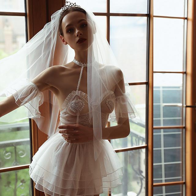 新娘性感內衣皇冠頭紗 A7226