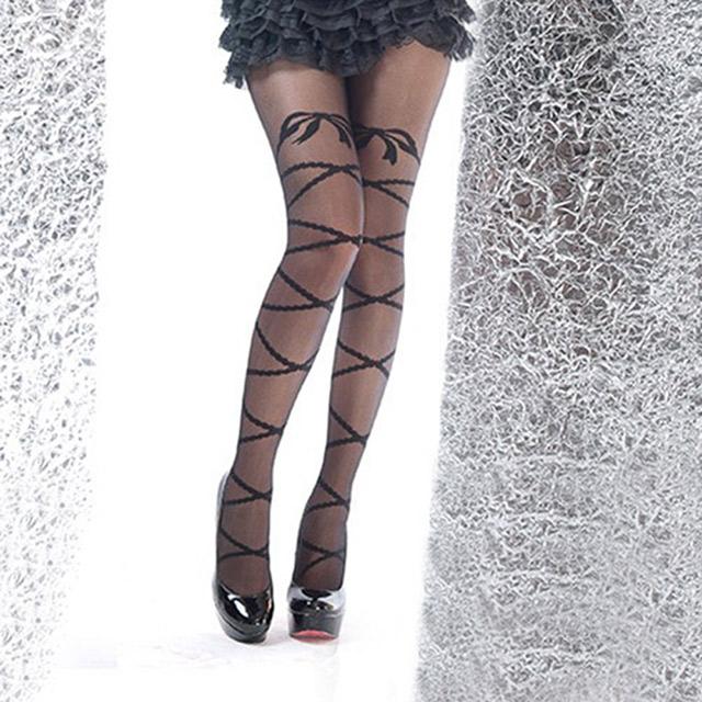 開襠斯襪特色花樣貼身透膚人氣開檔褲襪 B179