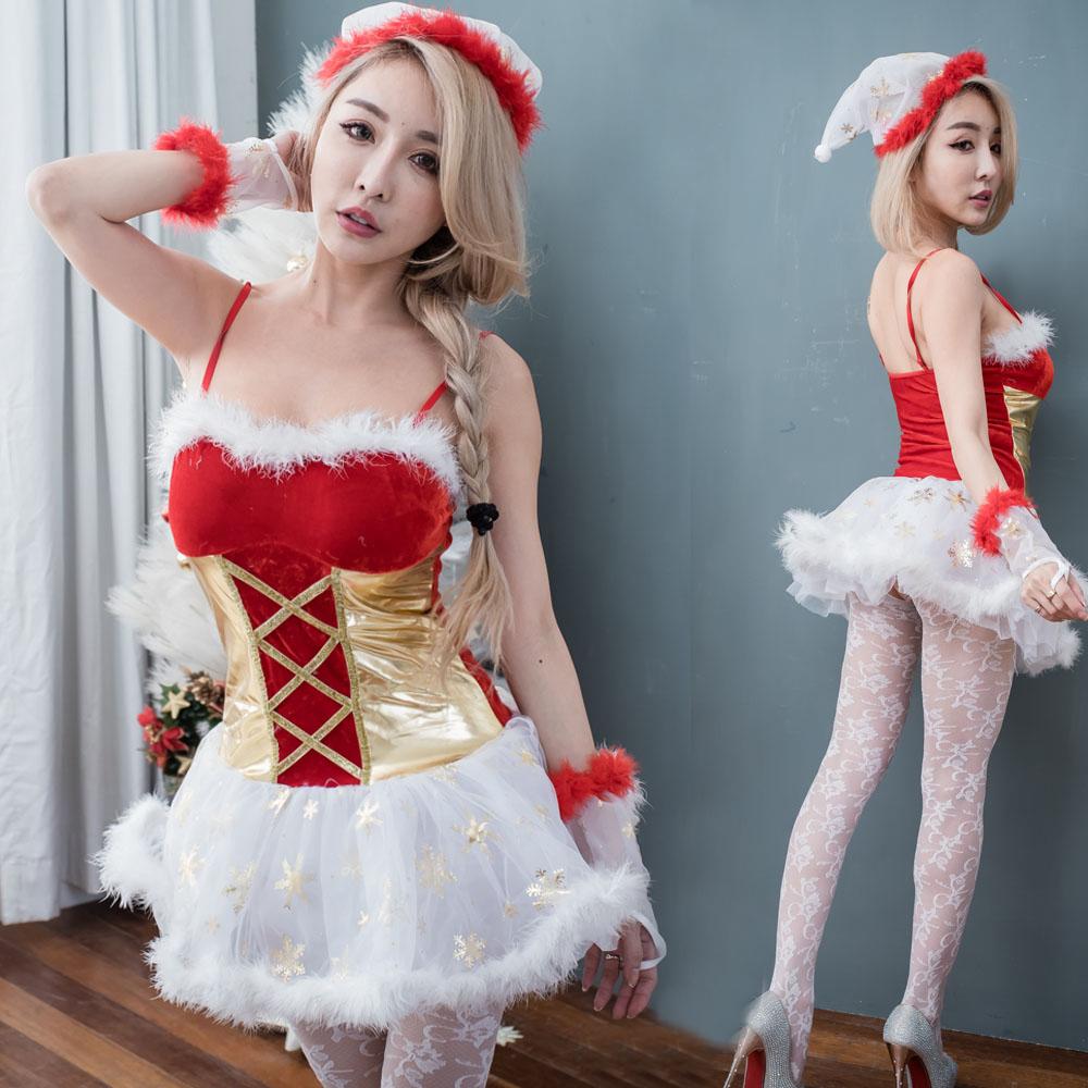 雪精靈洋裝聖誕小精靈細肩帶聖誕裝 F070...