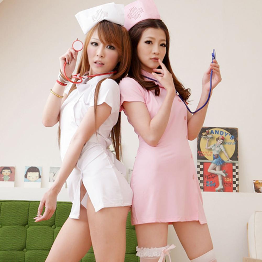 S-2XL情人貼身護士~空姐側扣收腰前開扣洋裝護士服~A067...