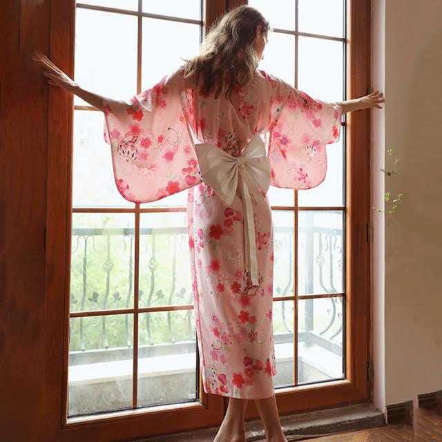 日系和服 花語粉色長版性感和服 角色扮演服裝表演服  A7238...