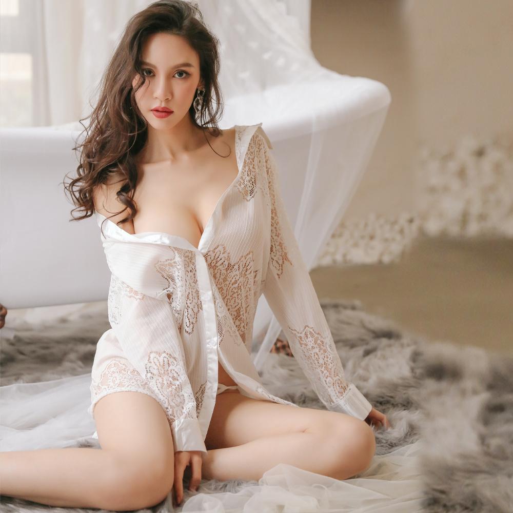 蕾絲性感睡衣 男友大襯衫透膚情趣睡衣 A7236...
