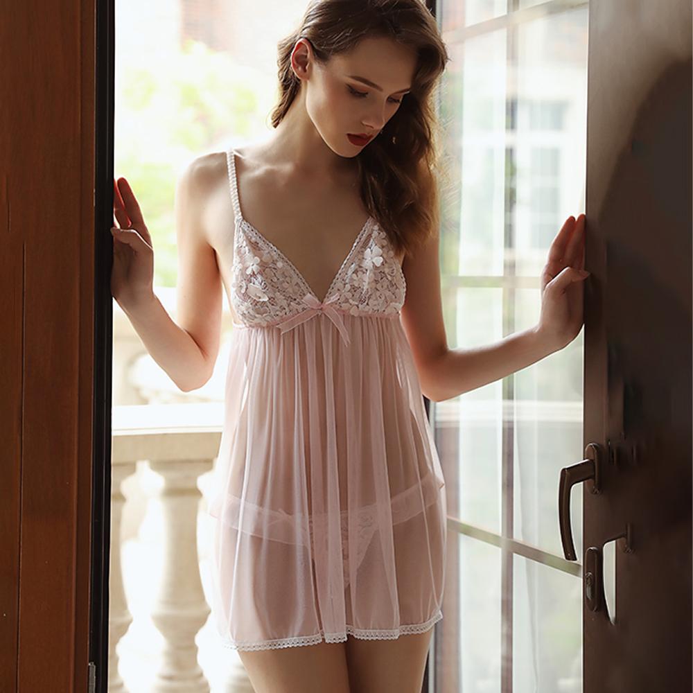睡衣 甜美細肩帶睡衣 粉色花語女睡衣情趣睡衣 A7240...