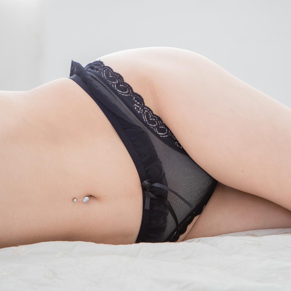 丁字褲 甜美荷葉性感丁字褲 女生寬版透膚情趣內褲~B6129...