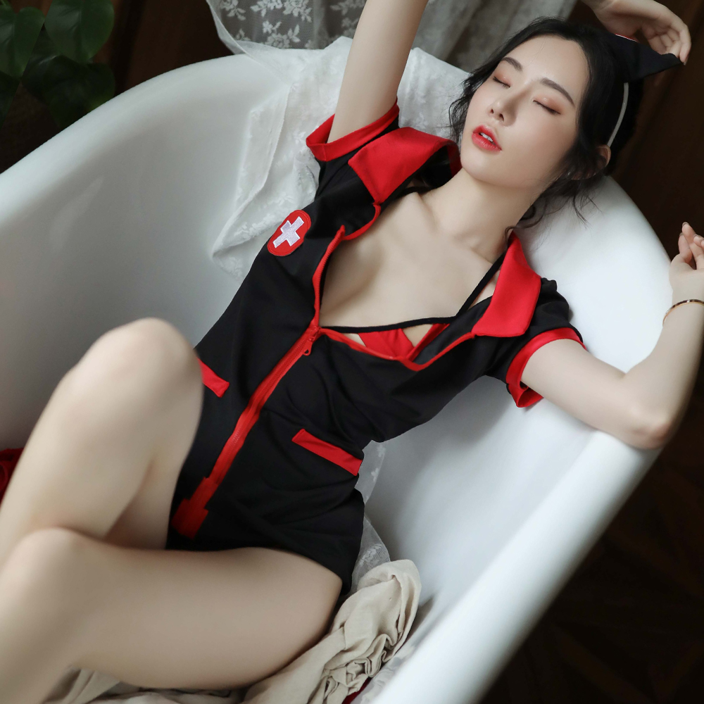 護士服 角色扮演黑色短袖洋裝護士制服 ~A7254