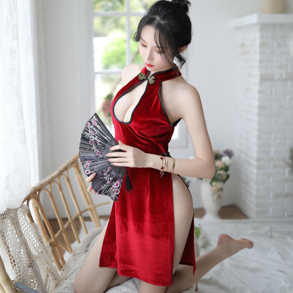 旗袍 改良式短版性感旗袍 不透明性感角色扮演服表演服~A7267...
