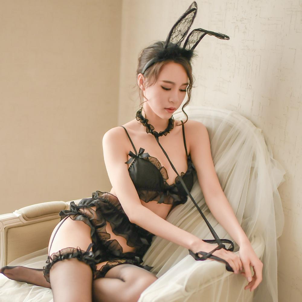 情趣內衣褲 5件式性感內衣吊襪帶組 浪漫雪紡情趣內衣組~A7273...