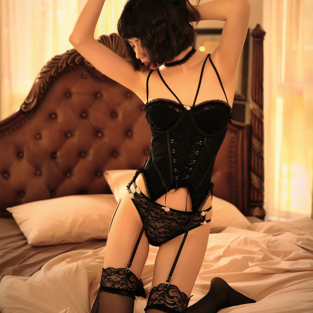 蕾絲性感馬甲吊襪帶丁字褲組~A7295...
