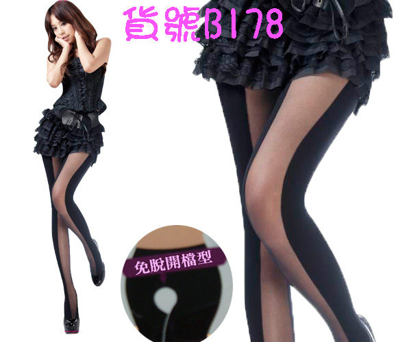 台灣製鏤空直條紋質感褲襪-B178...