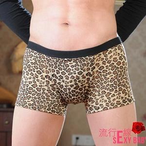 男內褲~豹紋四角低腰內褲~B563