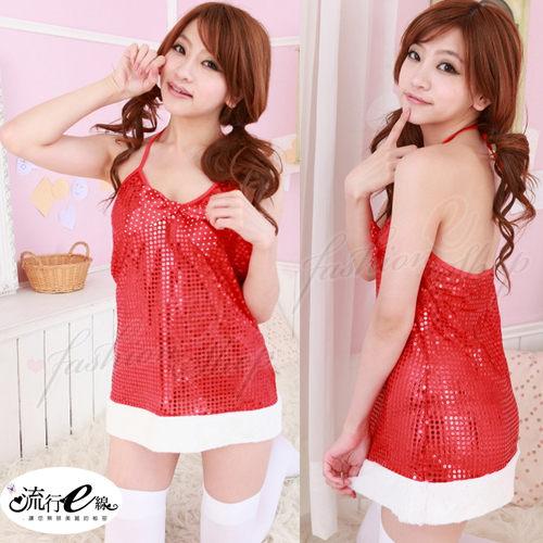 F001 派對焦點-亮片綁脖紅色洋裝聖誕制服...